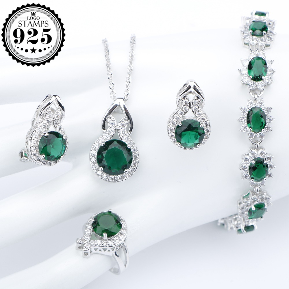 Green Zircon Silver 925 Costume Jewelry Sets For Women Bracelets Clips Earrings With Stones Pendant Necklace Rings Set Gift Box natural stones silver 925 wedding jewelry sets white zircon pendant necklace for women bracelets earrings rings set gift box
