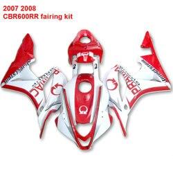 For HONDA CBR 600RR 07 08 2007 ( Red + White )Injection fairings ABS fairing kit /x03