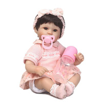 NPK 16 Silicone Reborn Baby Dolls Wholesale For Children S Day Wear Pink Dress Realistic Babies