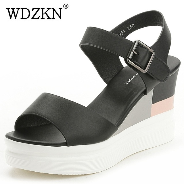 6d79fea1a0 WDZKN New Summer Wedge Sandals Women High Heels 8.5cm Black White  Comfortable Women Platform Sandals Pu Leather Female Shoes