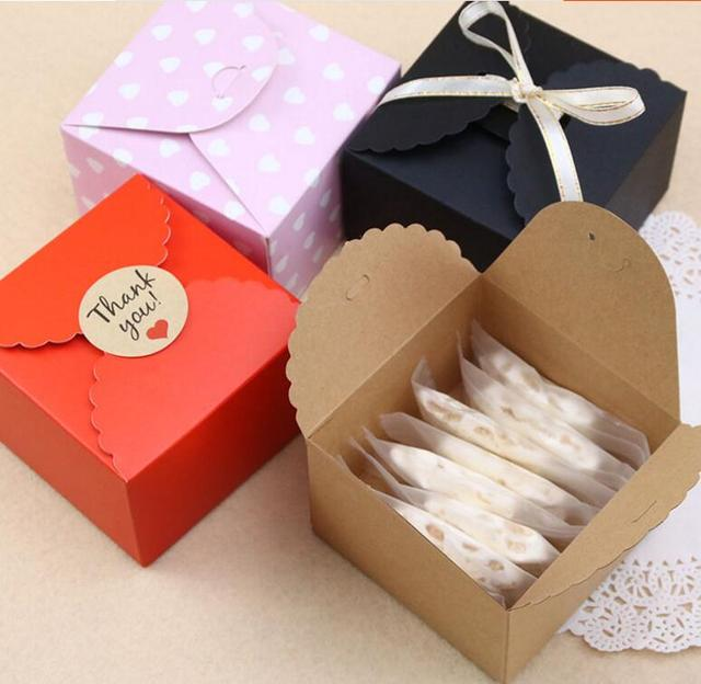 Qi 30pcs Lot Kraft Paper Cookie Cake Packaging Box Cute Food For Candy