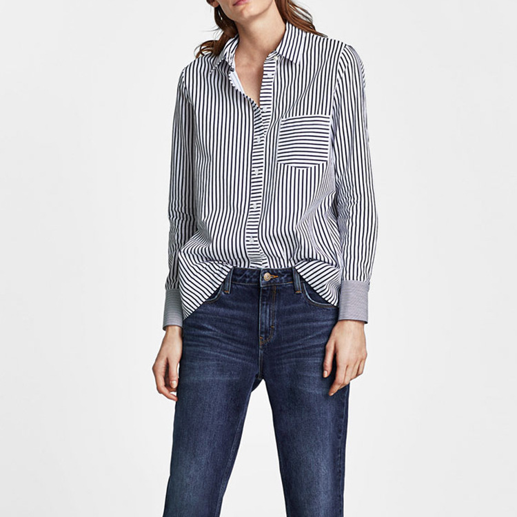 Vadim Cotton Casual Full Special Offer Direct Selling Blouse Plus Size Shein 2018 Spring Y Stripe Hit Easy Leisure Sleeve Shirt