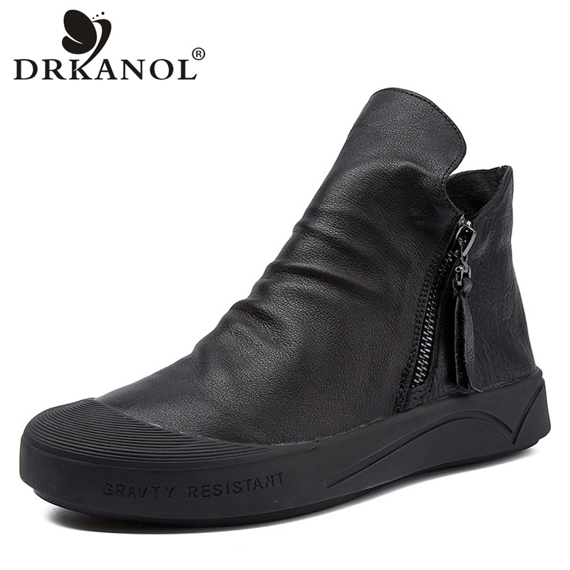 DRKANOL 2019 British Style Genuine Leather Martin Boots Women Flat Ankle Boots Soft Round Toe Zip