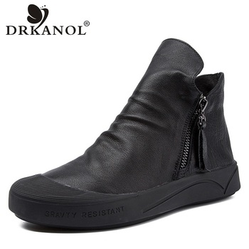 DRKANOL 2019 British Style Genuine Leather Martin Boots Women Flat Ankle Boots Soft Round Toe Zip Short Boot Women Shoes