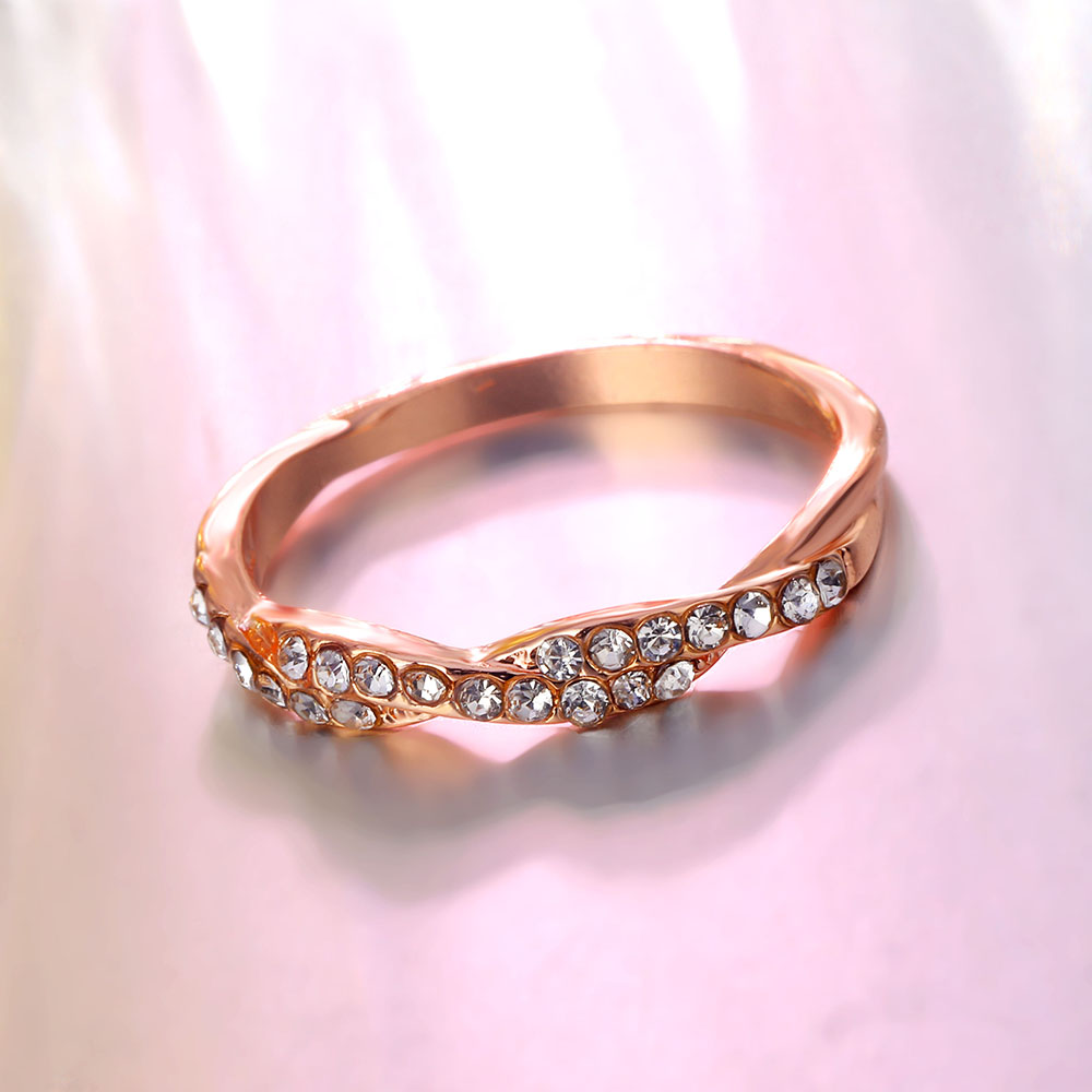 IPARAM Pattern Twisted Rope Hemp Flowers Ring Plating Rose Gold Silver Micro Cubic Zirconia Tail Ring Fashion Women's Jewelry 5