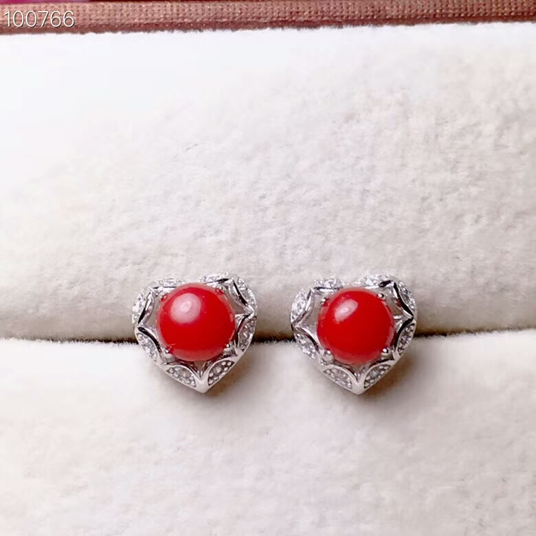 KJJEAXCMY Quality jewelry 925 pure silver mosaic sky red coral jade girl ear studs support test 925 silver plating rose shaped ear studs pair