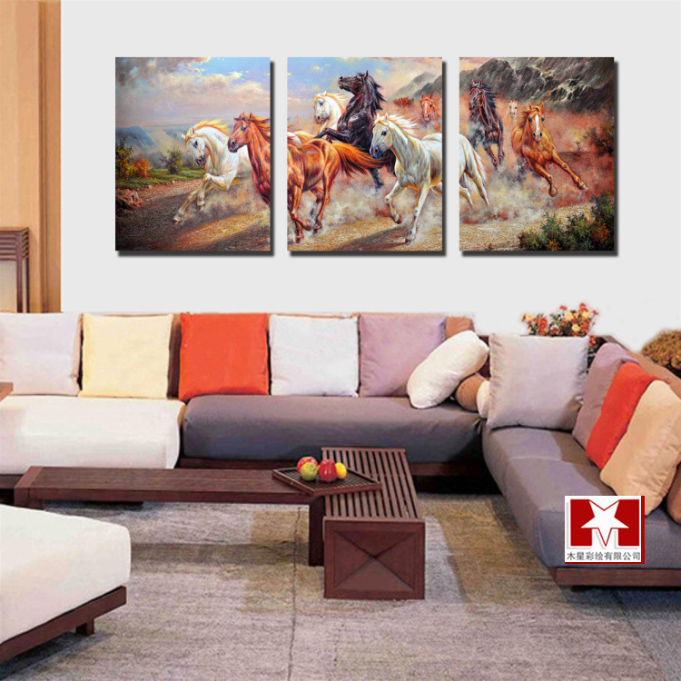 Aliexpress Buy 3 Panel Modern Canvas Wall Art Running Horses Painting Hanging Decorative Pictures For Living Room Home Decoration No Frame From