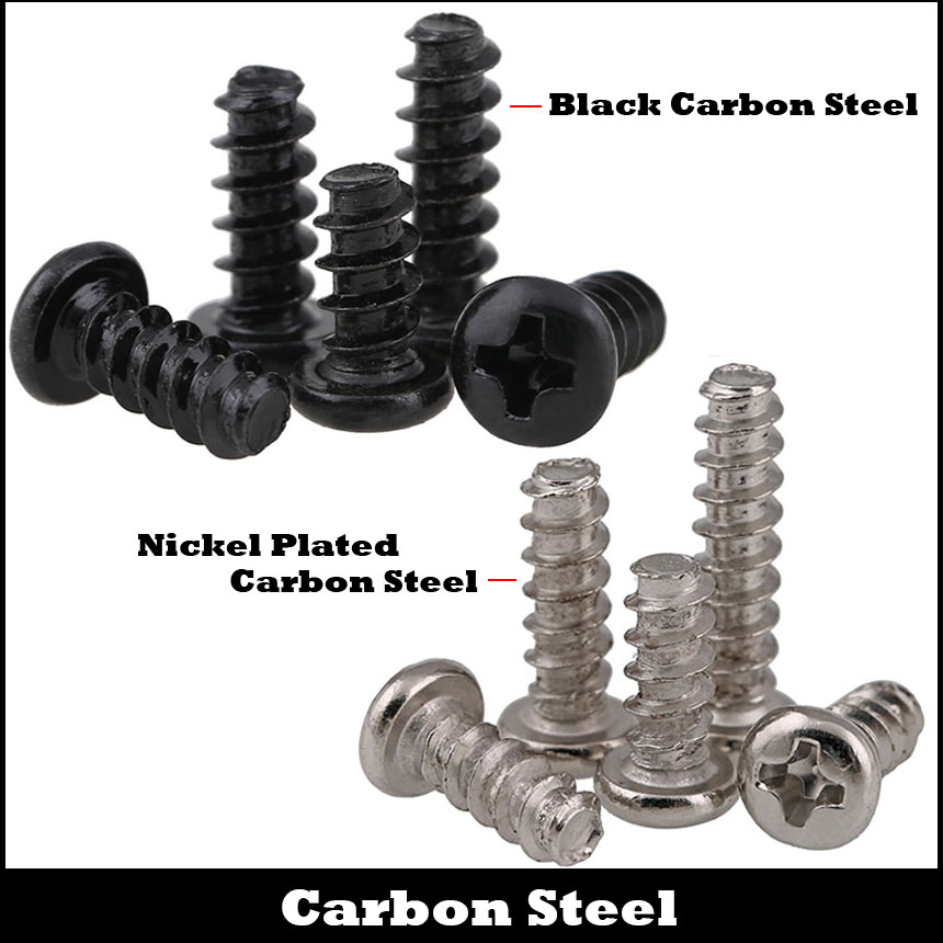 <font><b>M2</b></font> <font><b>M2</b></font>*8/10/12 M2x8/10/12 Black Nickel Plated Carbon Steel Philips Cross Pan Round Head Flat Tail Self <font><b>Tapping</b></font> Mini Machine Screw image