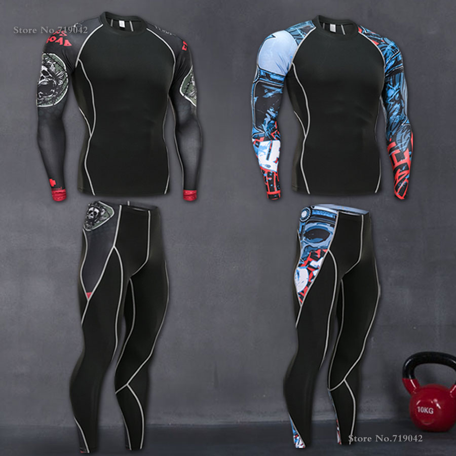 Los hombres de secado rápido Running Sets 2 unids/set compresión deportes trajes medias de baloncesto ropa gimnasio Fitness Jogging Sportswear
