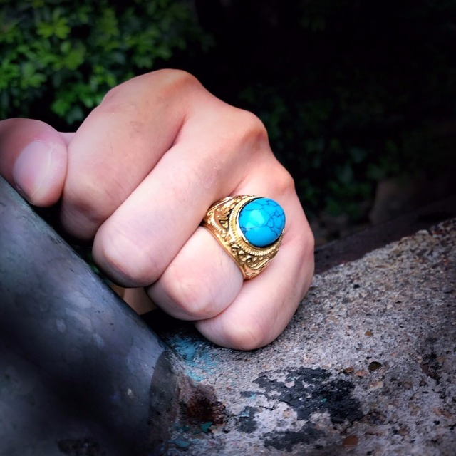Steel soldier Size Green stone Stainless Steel Ring For Man Woman high quality fashion jewelry