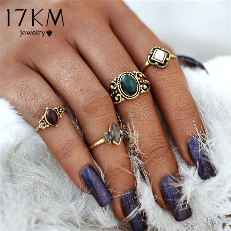 17KM Bohemian Multicolor Turkish Flower Midi Rings Sets Punk Style Acrylic Crystal Party Rings for Women Anillos Man Jewelry