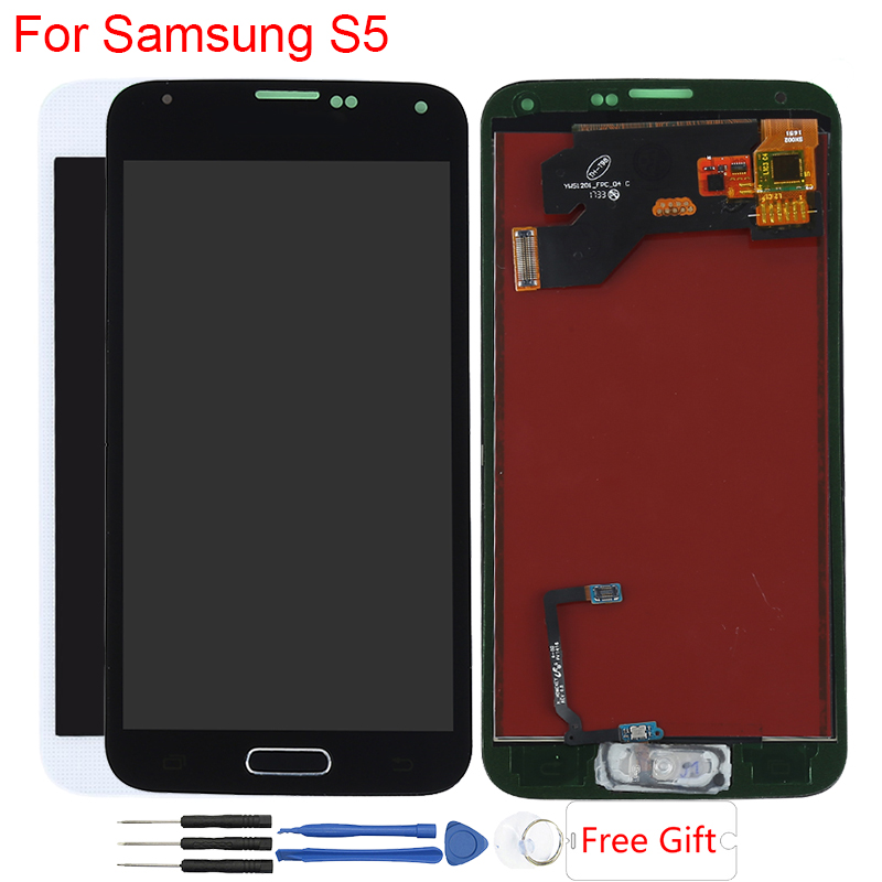 Original Amoled Display For Samsung Galaxy S5 LCD Display Touch Screen Assembly With Home Button SM G900F G900A G900H Display