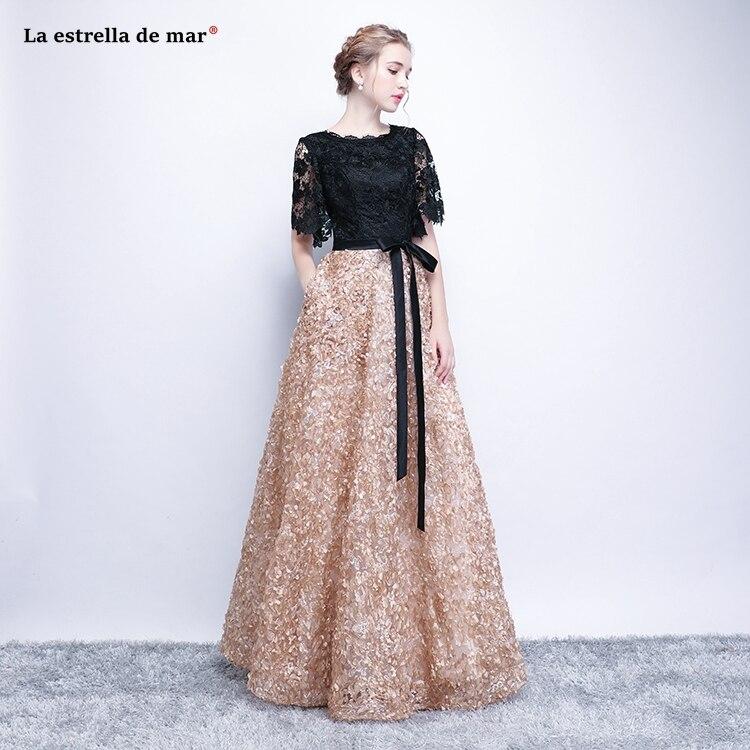 Ballkleider lang 2018 new lace half sleeve stitching a Line elegant black gold   prom     dresses   plus size vestido formatura