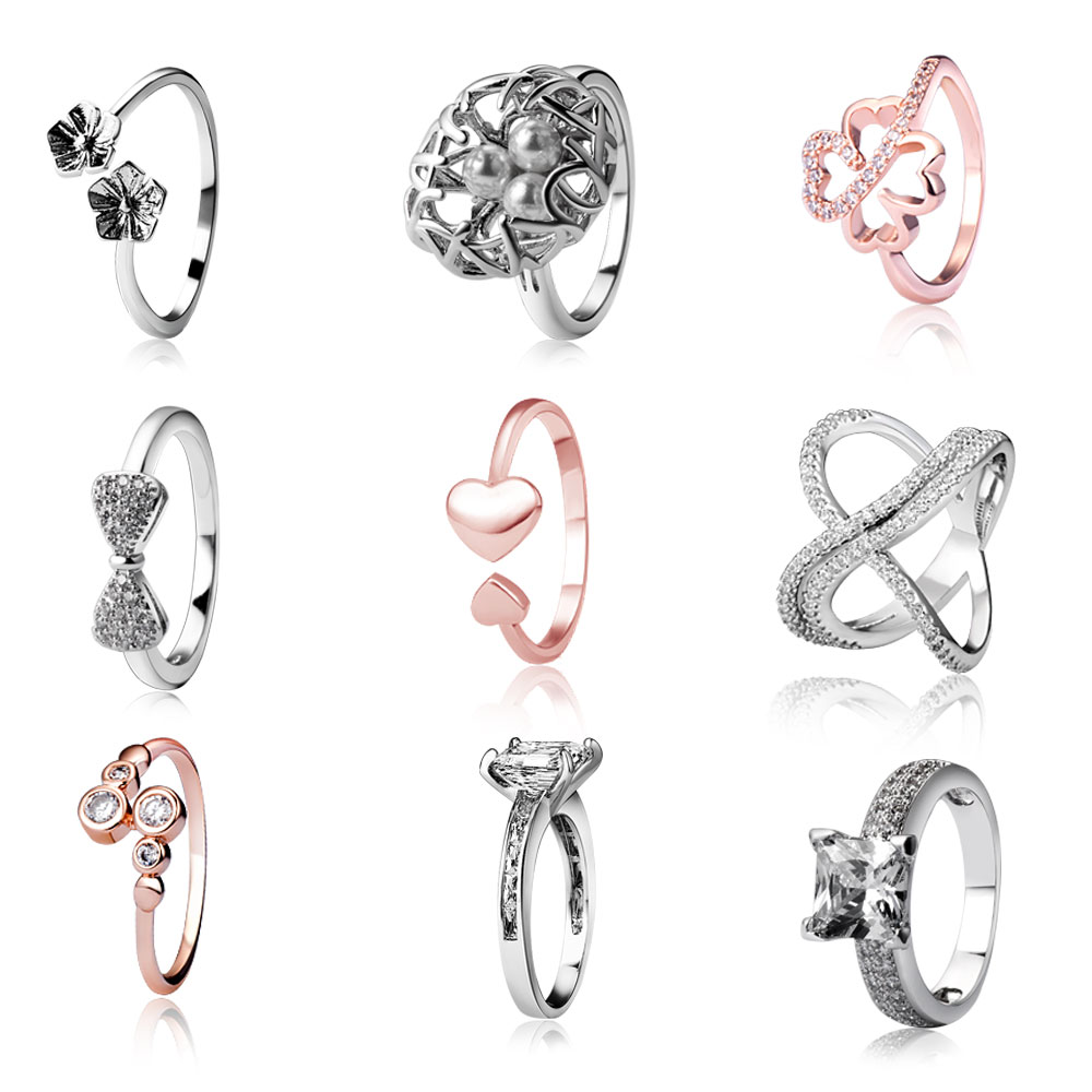 50pcs/lot Mix Rings 50+ Mix Styles & Sizes Women Rings Cubic Zirconia Rings Fashion Cross Heart Bow Shape Finger Ring CZ Jewelry
