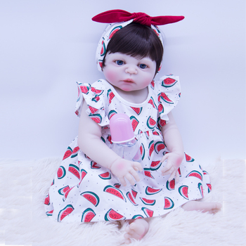 55CM Bebes Reborn Dolls Toys Silicone Reborn Baby Doll black hair Lifelike cute princess Baby Doll and Watermelon dress for sale
