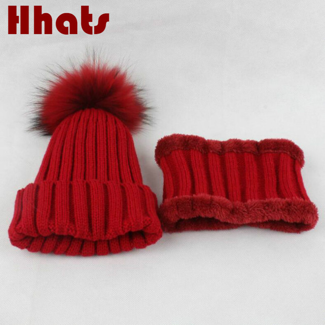 117d7ceba6dc thick warmer kids knitted hat scarf set solid real fur pom pom ...