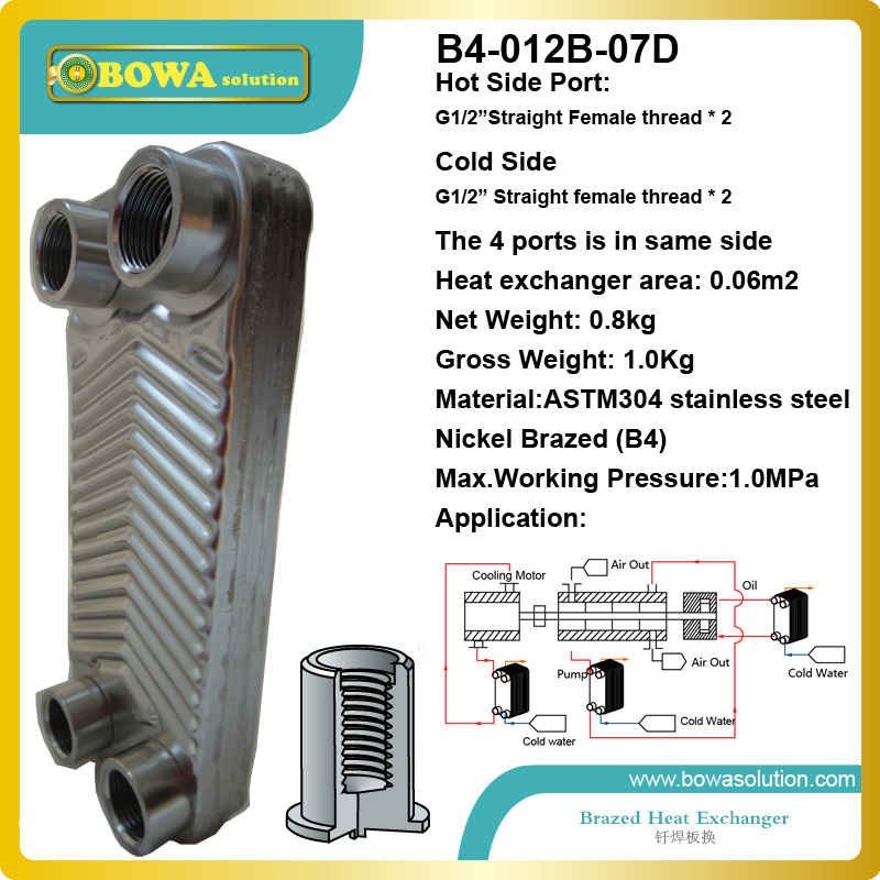 Nickel brazed  stainless steel plate heat exchanger b3 026b 26d copper brazed stainless steel big hole type plate heat exchanger for heating equipment and water chiller 7kw r22