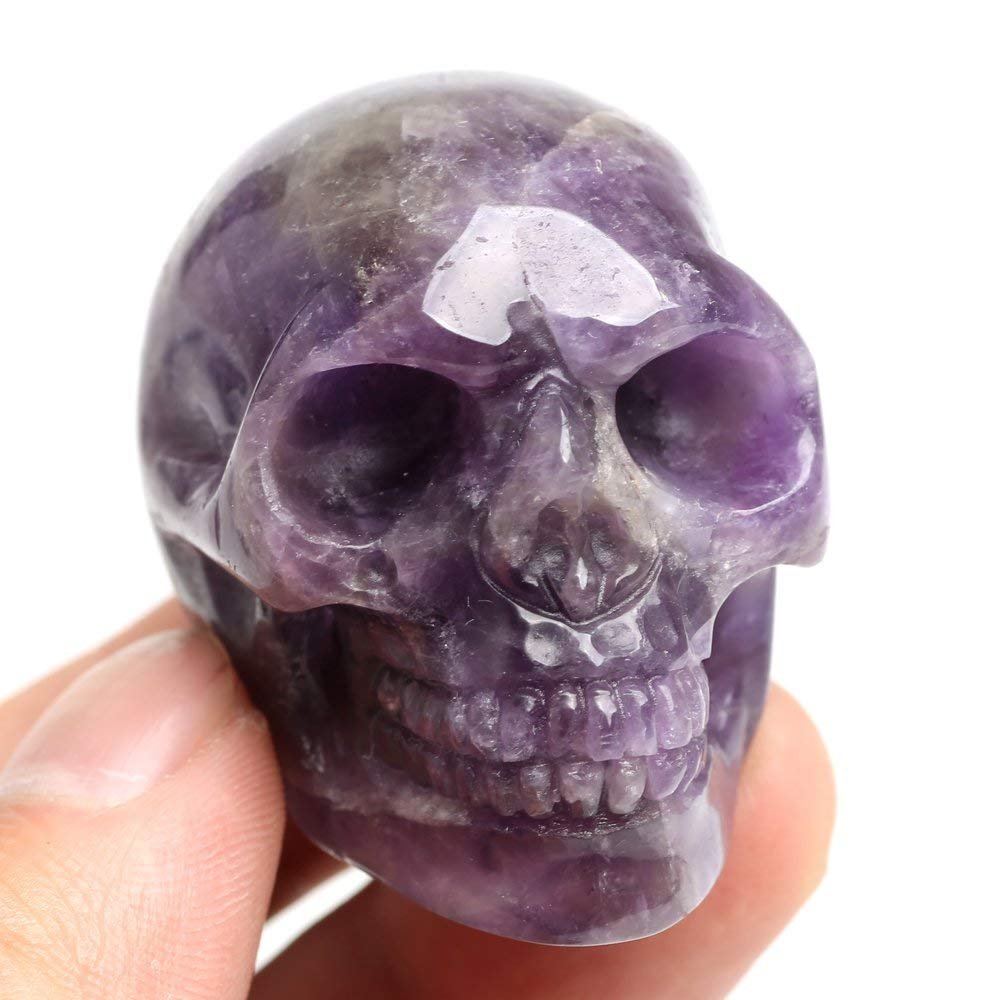 NEW! 88g Natural crystal Dream amethyst carving skull healing cluster by handNEW! 88g Natural crystal Dream amethyst carving skull healing cluster by hand