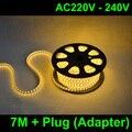 7M/lot AC220V 230V 240VSMD 5050 led strip light+Power plug,warm white/white,60leds/m waterproof