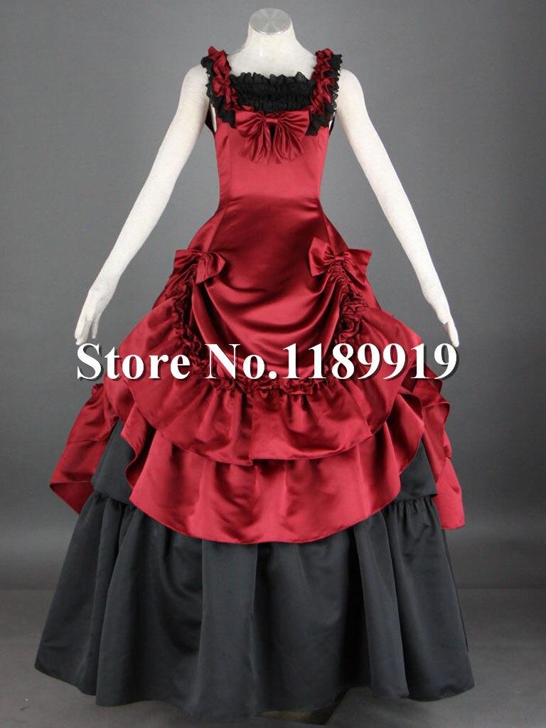 Senhoras Black Red Satin Lace Ruffled Gothic Lolita Vestido Cosplay Traje  Sob Medida 2583ee56678