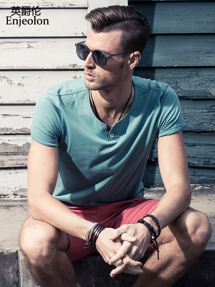 Enjeolon Brand Short Sleeve T Shirt Men Cotton Tee Shirt Men O Neck T Shirt Men 10 Color Solid Casual Male T-shirts T1531