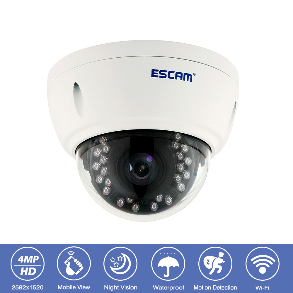 Escam QD420 Outdoor IP66 Waterproof CCTV Surveillance Wifi IP Camera 4MP Onvif P2P IR Night Vision Wireless Security Dome Camera цена