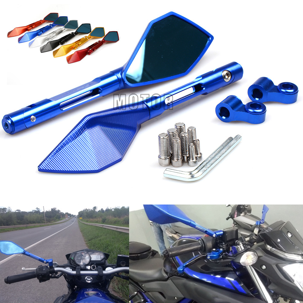 Universal CNC Motorcycle Rearview Rear View Mirrors For Yamaha YZF R3 R1 FZ6 MT09 MT07 XJR