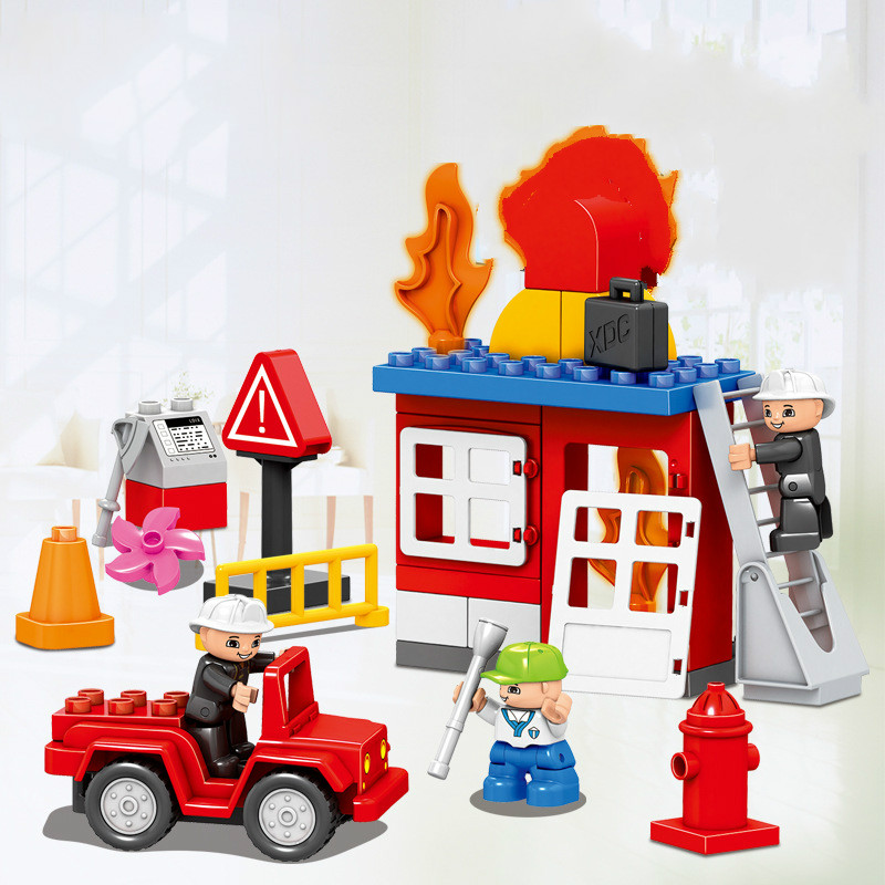 NEW 52pcs Fireman Rescue Fire Size Bricks Large Particles Educational Baby Toys DIY Christmas Gifts Compatible Lepins Figures hot city fire rescue ladder engine truck building block fireman figures bricks educational toys for children gifts