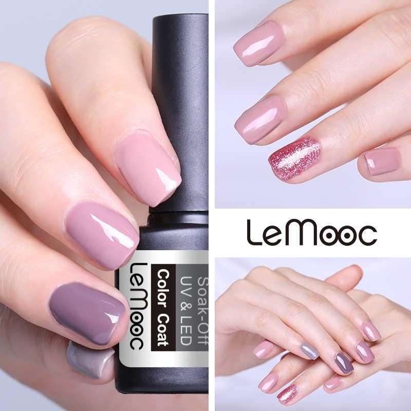 LEMOOC 8ml เจลเล็บชุด Rose Gold LED เล็บเจลเคลือบเงากึ่งถาวรเล็บเล็บ Glitter สีเจลสำหรับ