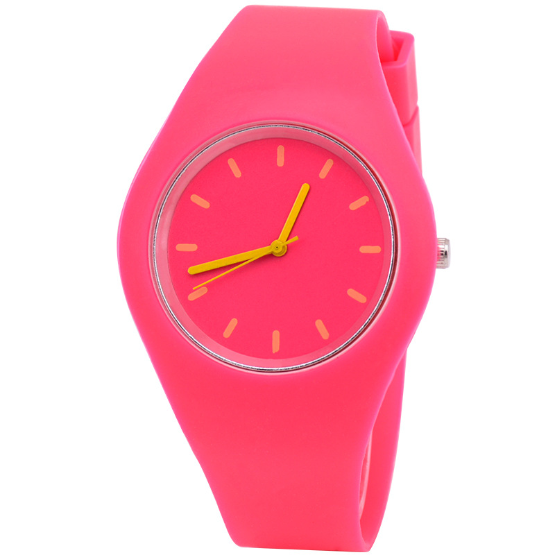 Woman Fashion Casual Silicone Strap Quartz Watch Candy-colored Jelly Watch Ladies Fashion Dress Quartz Wristwatch Female Watch