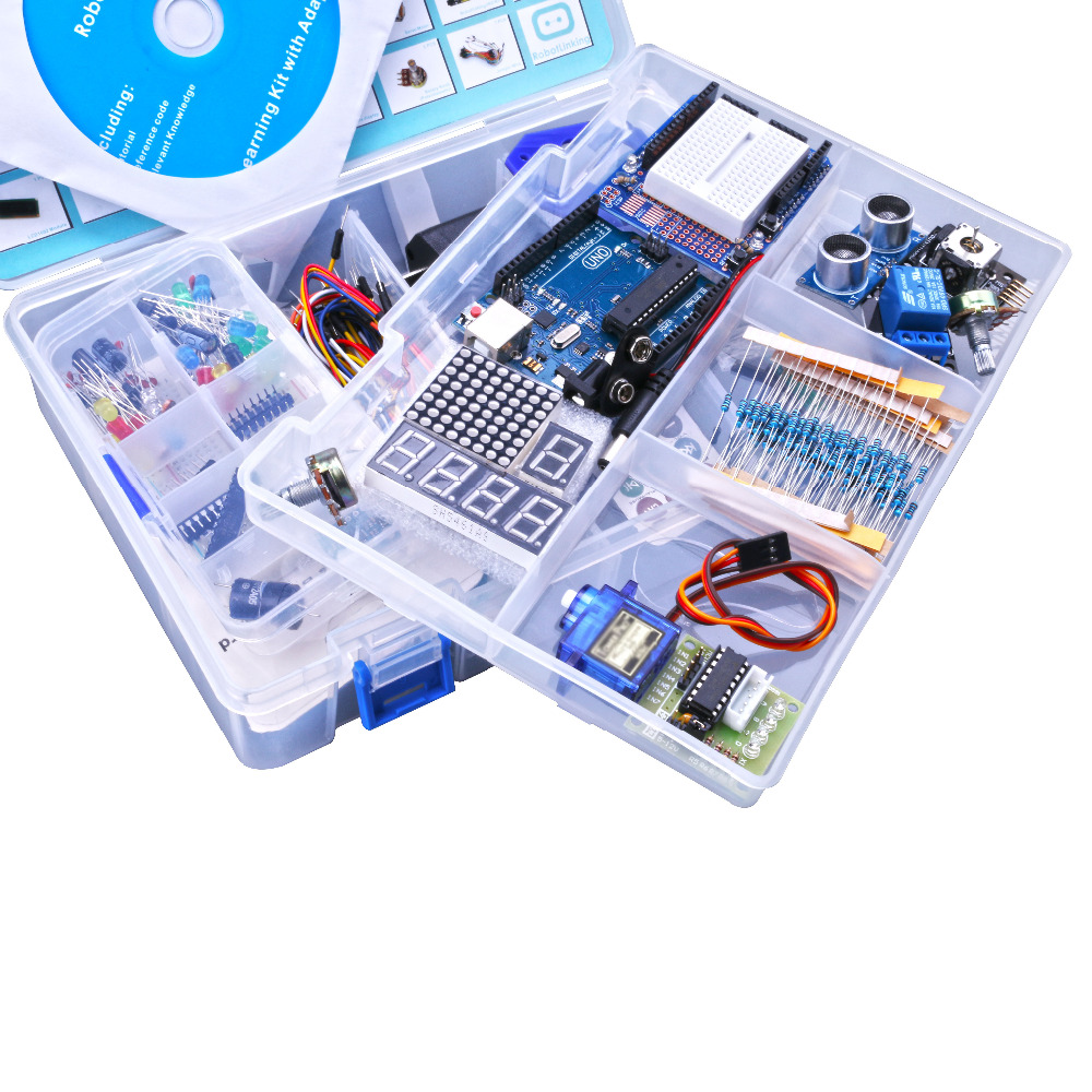 Kit de bricolage électronique pour arduino Uno R3 Suite d'apprentissage de base avec moteur pas à pas PDF/LCD1602/serveur - 5