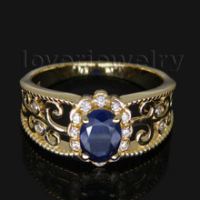 Hot Selling Oval 5x7mm Blue Sapphire Ring With Diamonds For Women Men Solid 14Kt Yellow Gold WU018