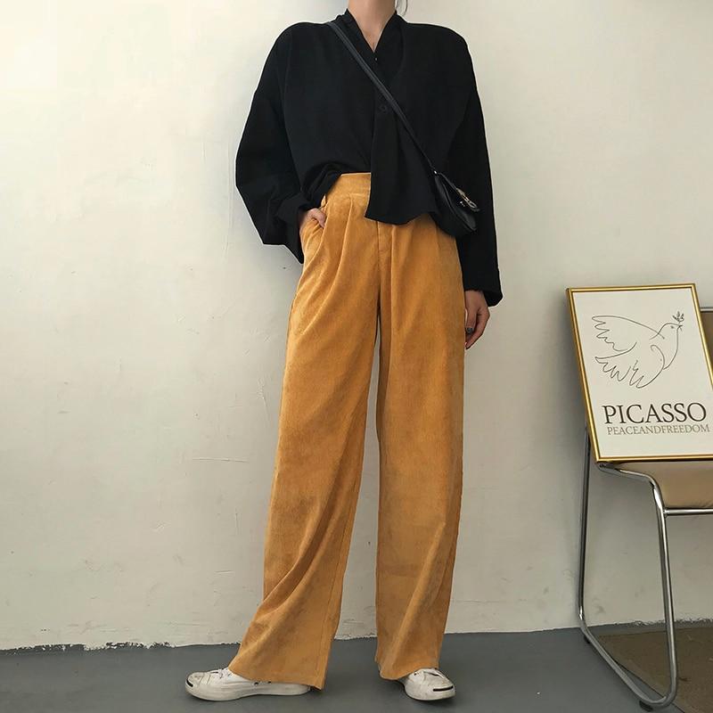 Retro Corduroy 7 Colors Trousers Women's Fashion   Wide     Leg     Pants   High Waist Street Dress Long   Pants   S M
