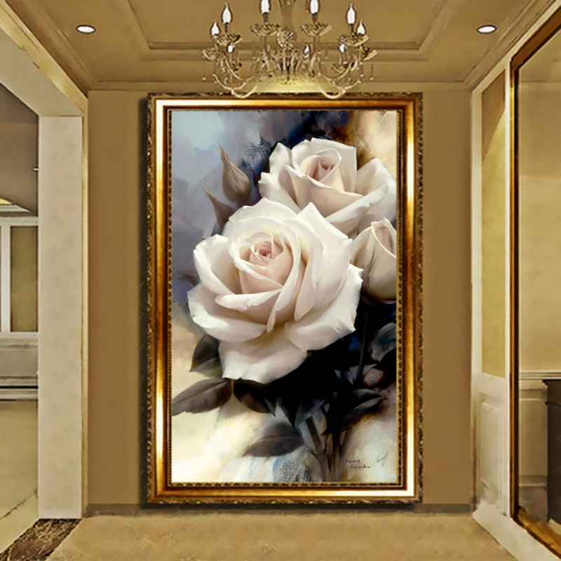 Modern Romantic Art 3D Rose Floral Wallpapers 3d Wall Paper Bedroom Livingroom Entarance Wallpaper Mural Wall Papers Home Decor 3d modern wallpapers home decor flower wallpaper 3d non woven wall paper roll bird trees wallpaper decorative bedroom wall paper