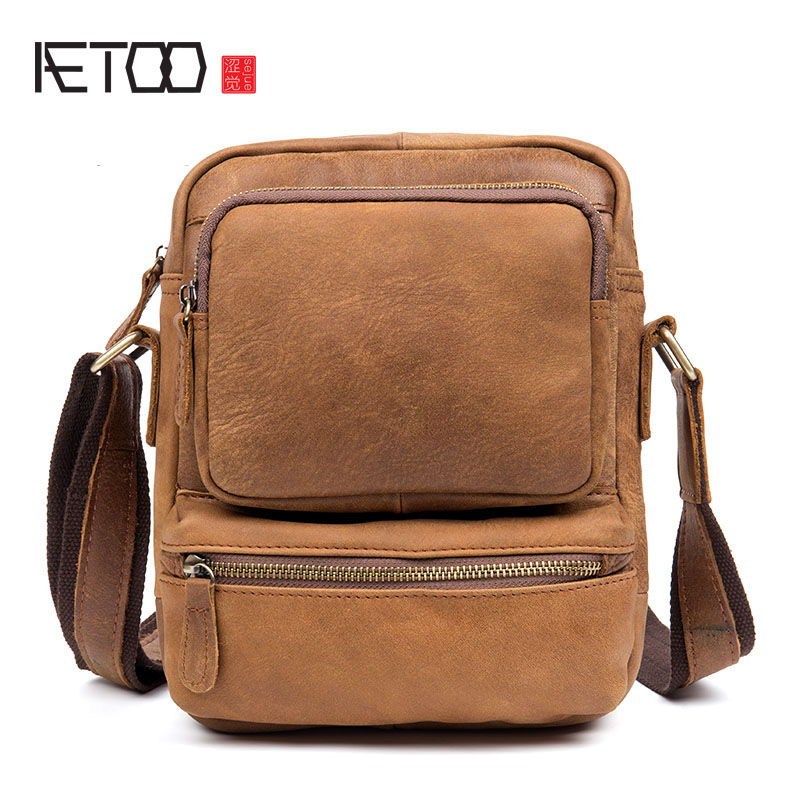 AETOO Retro handmade leather Messenger bag first layer of leather men's shoulder bag casual bag matte leather qiaobao 2018 new korean version of the first layer of women s leather packet messenger bag female shoulder diagonal cross bag