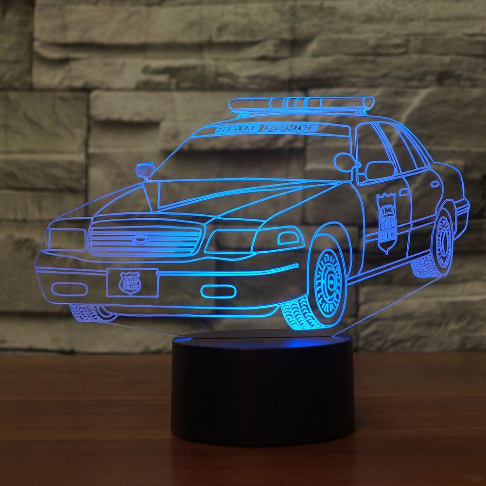 Creative 7 Colors 3D Car Shape Nightlight Bedroom Decor LED Police Desk Table Lamp Baby Sleep Lighting Kids Gifts Light Fixture 3d fire engine modelling table lamp 7 colors changing fire truck car night light usb sleep light fixture bedroom decor kids gift