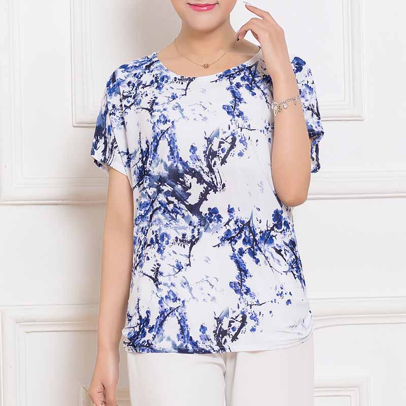 Summer women tops tees 2017 vintage short sleeve o neck for Plus size summer shirts