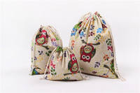 10 cái/lốc 14*16/19*24/25*32 cm Owl printed Pouch Giáng Sinh Món Quà Cưới túi Vải Trang Sức Lanh Lanh Vải Trọn Gói Chất Lượng Cao