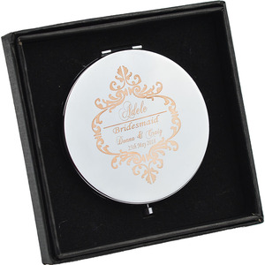 #JZ Personalised Bridesmaid gift Foldable Compact Beauty Purse Mirror Bridal Shower Party Favour Wedding Gift Favor(China)