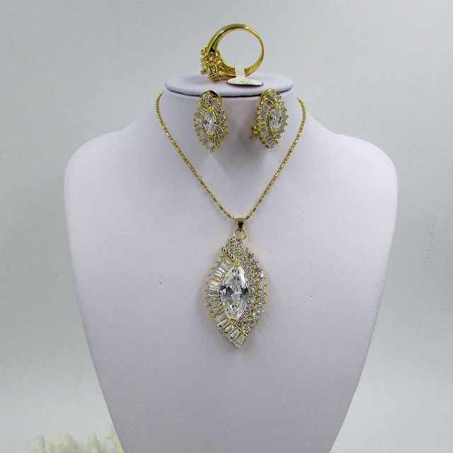 Hot Sale Zircões Completos Conjuntos de Jóias Parure Bijoux Mariage 100% Banhado A Ouro de Casamento Conjuntos de Jóias de Jade Verde