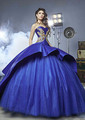 Elegant Gold And Royal Blue Quinceanera Dresses 2017 Sweetheart Golden Embroidery Long Train Ball Gown For 16 Years Dresses