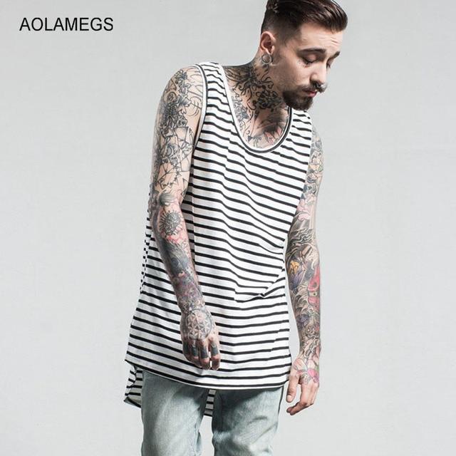 Aolamegs Tank Tops Hombres Extendida de Rayas Blanco y Negro Camiseta Sin Mangas Camisetas Homme 2017 Primavera Verano Moda Hip Hop Streetwear