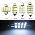 5pcs White Auto LED Bulbs 31mm 36mm 39mm 41mm 16-SMD 1210/3528 Chip Festoon Dome Map Cargo Car LED Light  #CA1216