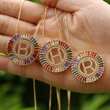 BOAKO Initial Multicolor CZ Letter Necklace Personalized Alphabet Nameplate Name Jewelry Women Round Pendant