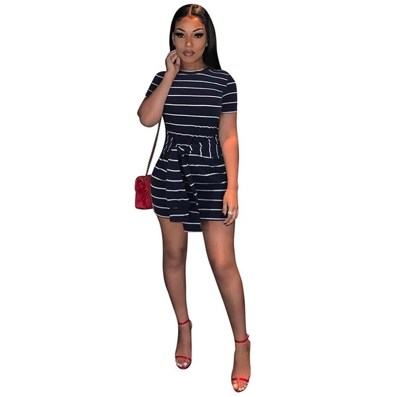 Striped Front-Tie Bodycon Dress