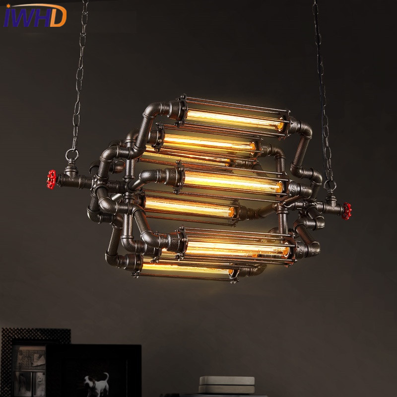 IWHD 8 Heads Style Loft Vintage Industrial Lighting Pendant Lights Iron Retro Pendant Lamp Bedroom Bar Water Pipe Hanglamp new loft vintage iron pendant light industrial lighting glass guard design bar cafe restaurant cage pendant lamp hanging lights
