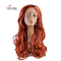 Synthetic Lace Front Wig Long Body Wave Half Hand Tied Heat Resistant Wavy Copper Red Hair Wigs for Women Daily Wear