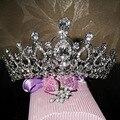 ZYLLGF Nupcial Em Estoque Lindo Brilho Prata Banhado de Cristal Austríaco Big Chapéus Do Casamento Hairwear Acessórios De Noiva BH1