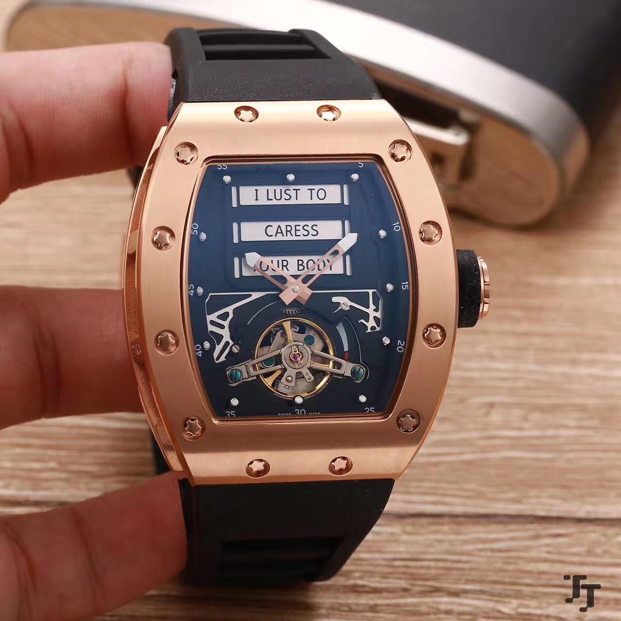 Hommes en caoutchouc de luxe automatique saphir mécanique Rose or argent noir blanc édition limitée montres à Tourbillon érotique