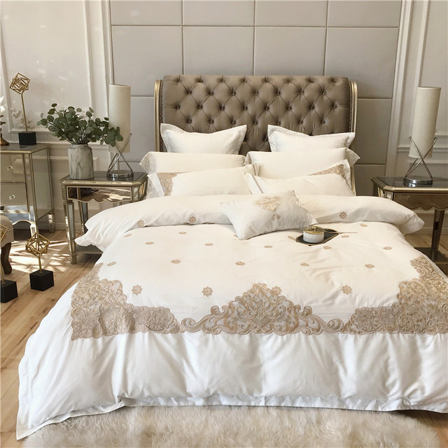 Luxury White Bedding Set King Queen Size 1/4/6pcs egyptian cotton Bed Linen Duvet Cover Bed Sheet Set Pillowcases